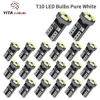 20x Pure White T5 74 73 Wedge 3-SMD LED Bulb Instrument DashBoard Gauge Light
