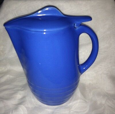 Oxford Ware Universal Pottery Blue Pitcher/Jug Blue Lid MidCentury 50s Pretty