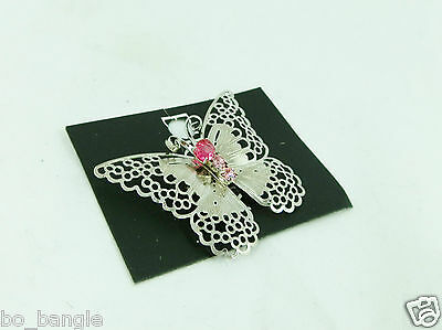 Bijoux Beautiful Filigree Silver Coloured With Pink Diamante Stylish Brooch Pin