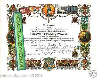 Knights of Columbus Franciscan Friar Wappingers Falls, NY 8x10 Certificate 1958