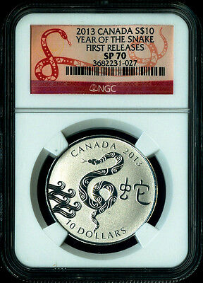 2013 CANADA LUNAR YEAR SNAKE FIRST RELEASES 1/2 oz Silver $10 Coin NGC SP70