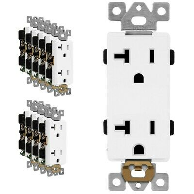 20 Amp Outlet Receptacle Heavy Duty 125V Decorator Rocker Duplex White - 10 Pack
