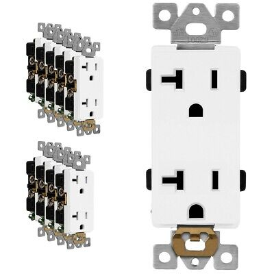 20 Amp Receptacle Outlet Heavy Duty 125V Decorator Rocker Duplex White - 10 Pack