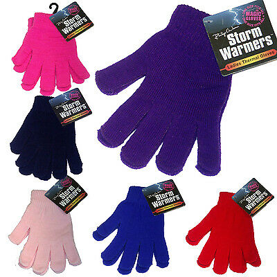Ladies Girls Winter Warm Thermal Insulated Knitted Magic Gloves Pink Lilac Red