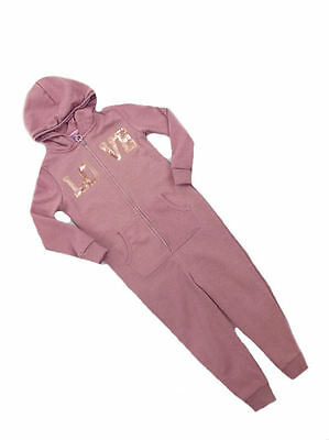 F&F Girls Dusky Pink Love Sequin Hooded Onezee All in one Age 2 3 4 5 7 LAST FEW