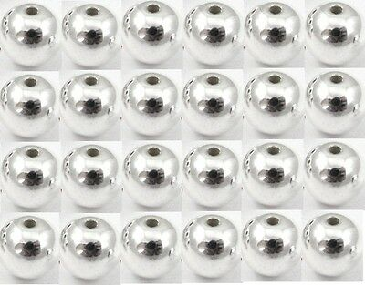 1 or 10 pcs Sterling Silver 925 Round Beads for Jewellery Making Spacer Beads