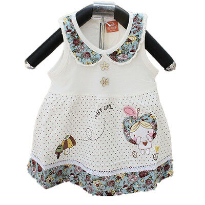 New Baby Girls Cotton Party Dress in Pink White 3-6,6-9,9-12 Months