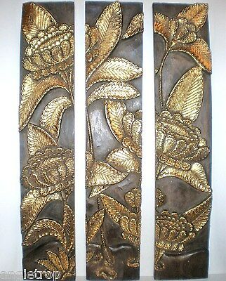Sunflower Set 3 Wood Carved Wall Art Hangings Panel Carving Bali Balinese