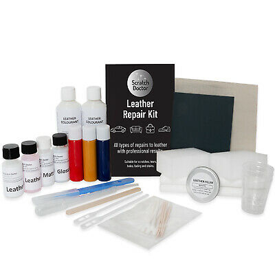 BRIGHT RED Leather Sofa & Chair Repair Kit for tears holes scuffs and colour dye