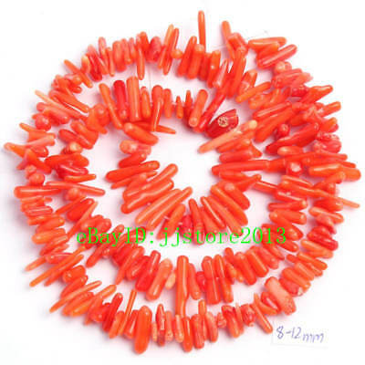 6-12mm Natural Orange Sea Bamboo Coral Freeform Shape Gem Loose Beads Strand 15""