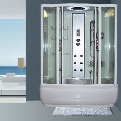 Asnzs Glass Shower Screen Bathtub Cubicle Enclosure Jets Mixer Base Lcd Radio