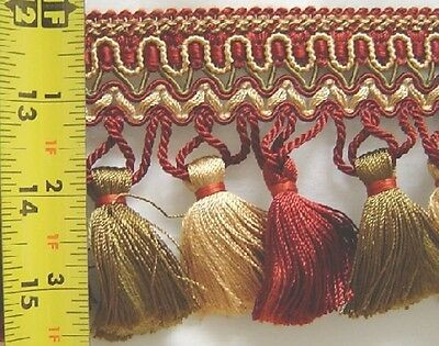 "3.75"" Tassel Fringe Yellow Gold Cranberry Red Olive green Match Gimp Brush Cord"