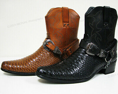Men's Cowboy Boots Western Snake Skin Print Zippper Buckle Harness Shoes, Sizes