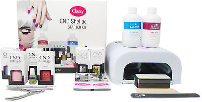 CND Shellac Deluxe 13 Item Nail Starter Kit - Classy Nails 36W UV Lamp Included