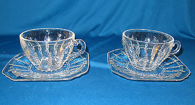 Vintage Federal Glass Columbia Cups & Saucers 2
