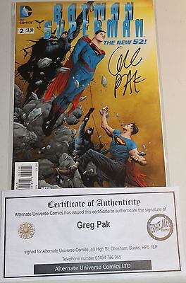 Batman Superman # 2 Signed By Greg Pak With Coa New 52 First Print 1St Real Hot