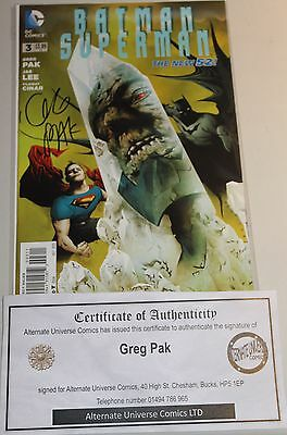 Batman Superman # 3 Signed By Greg Pak With Coa New 52 First Print 1St Real Hot