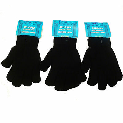 Kids Children's Black Winter  Acrylic Thermal Magic Gloves 3,6,12