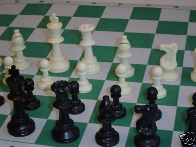 New Weighted Staunton Chess Pieces, MPad Board Set 2M (Green): Tournament Size