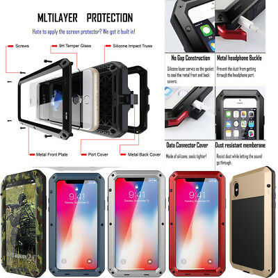 For iPhone XS Max X XR 7 8 Plus 6S Heavy Aluminum Military Duty Cover Case Armor