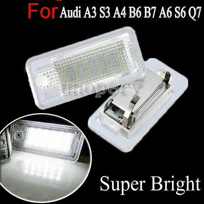 2X LED Error Free License Number Plate Light Lamp 6000K For Audi A3 A4 B6 A6 Q7