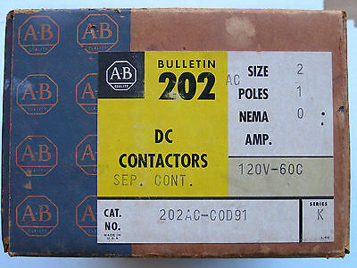Allen Bradley 202AC-C0D91 DC Contactor Size 2 Coil 120 Volts NEW!!! in Box