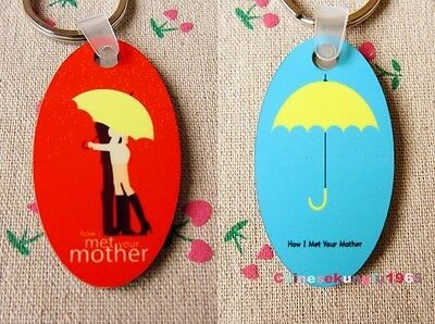 TV Serious Ellipse Keyring Key Chains How I Met Your Mother Yellow Umbrella Wood