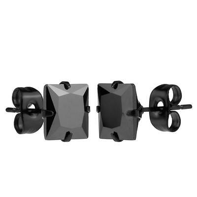 Black Stainless Steel Square Shape Cz Cubic Zirconia Stud Earrings Various Sizes