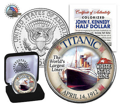 "1912 TITANIC ""Worlds Largest Ship""J.F KENNEDY HALF DOLLAR GENUINE COLORIZED MINT"