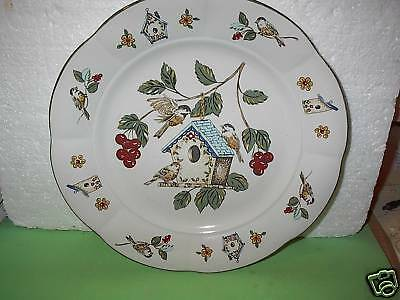 "Lot 1 ~ CENTURY Stoneware 11"" Dinner Plate ""Feathered Friends"" Birds Design"