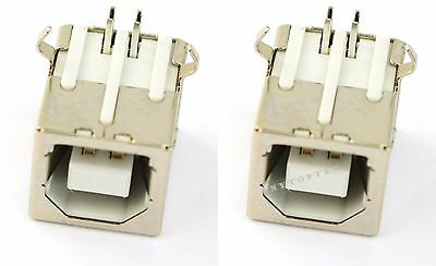 2X Plug Port Connector Socket PCB Replacement For USB Type B Female Right Angle