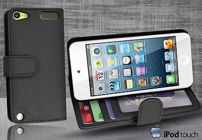Black Side Wallet Leather Case Cover for iPod Touch 5th Generation iTouch 5 +SP