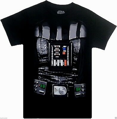 Star Wars: 'Darth Vader' Men's Black Costume T-Shirt 100% Cotton {Size: S-XL}