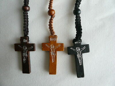 Wood Wooden Bead Necklace Rosary Pendant Holy Communion Confirmation ~ Now £1.25