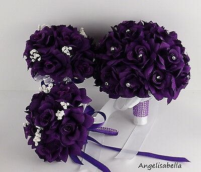 USA Seller - 6pc Purple Wedding Bouquets and Boutonnieres
