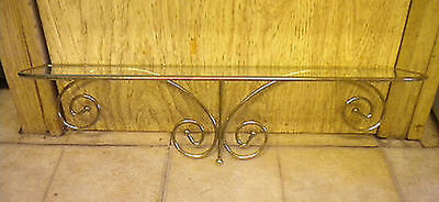 "VINTAGE Gold Metal SCROLL & GLASS TRADITIONAL Wall Shelf 5.5""X18.25X5.25"