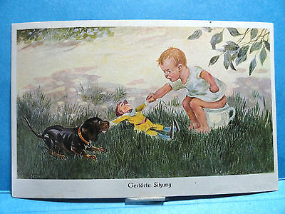 Little Boy On a Chamber Pot Playing Tug-of War with a Dog Foreign