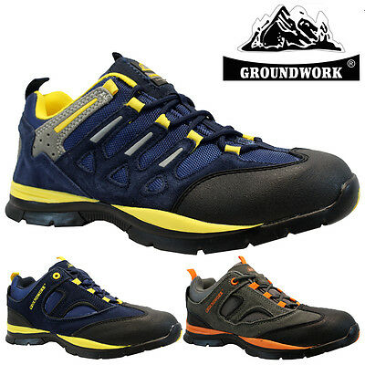 Mens Groundwork Leather Safety Work Boots Steel Toe Cap Shoes Trainers Size New