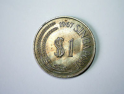 First Series - Singapore 1967 One Dollar Stylized Lion Coin - Very Rare - CNN101