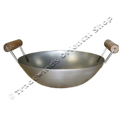 "Hancock 13"" (33Cm Double Handle Flat Based Carbon Steel Wok - Commercial Quality"