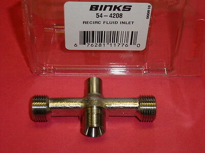 New! Binks Recirc Fluid Inlet, 54-4208