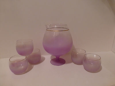 Vintage West Virginia Blendo Bar Snifter Pitcher (5) Roly Poly Glasses    (S3