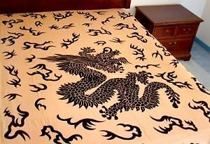 "Mystical Dragon Tapestry 72"" X 108"" Beige / Black 100 % Cotton Hand Made"