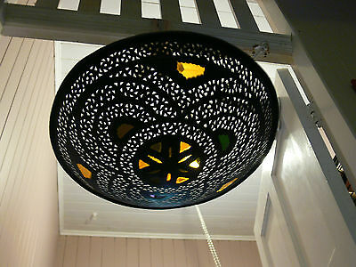 Moroccan old handmade bronze metal disc shaped light shade.