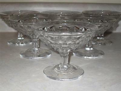 VINTAGE LOT OF 6 FOSTORIA AMERICAN GLASS SHERBERT FRUIT PEDESTAL FRUIT CUPS