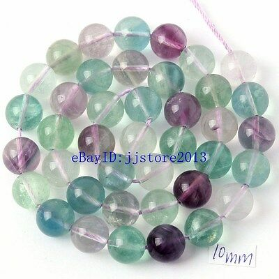 """10mm Natural Mixed Color Fluorite Round Shape DIY Gems Loose Beads Strand 15"""""""