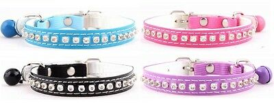 Diamante Cat Collar with safety elastic buckle and bell!!
