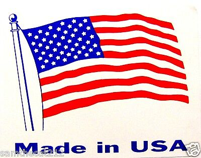 2500 1.5 x 2.0 MADE IN AMERICA  USA FLAG LABEL STICKER