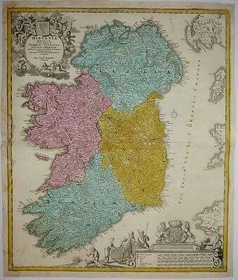 1710 Homann (Petty & Visscher) Map IRELAND Superb Vignettes, Minutely Detailed!