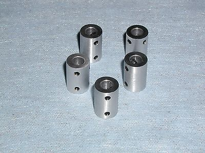 "1/4"" SHAFT COUPLERS or COUPLINGS - 5 PIECES 6061 By ESG ***HAVE THESE IN DAYS***"